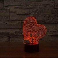 Işıklar ve Aydınlatma'ten LED Gece Lambaları'de Noel süslemeleri ev için Güzel Aşk Kalp Şekli 3D Gece Lambası 3D Yatak Odası iç mekan lambası Luminaria YJM 2976