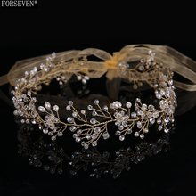 48cm Gold Crystal Bridal Hair Headband for Women tiaras Headdress FORSEVEN Handmade Rhinestones Hair Jewelry Wedding Accessories