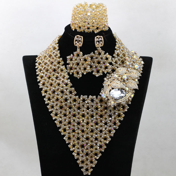 Superior Champagne Gold Dubai Bridal Crystal Costume Necklace Set