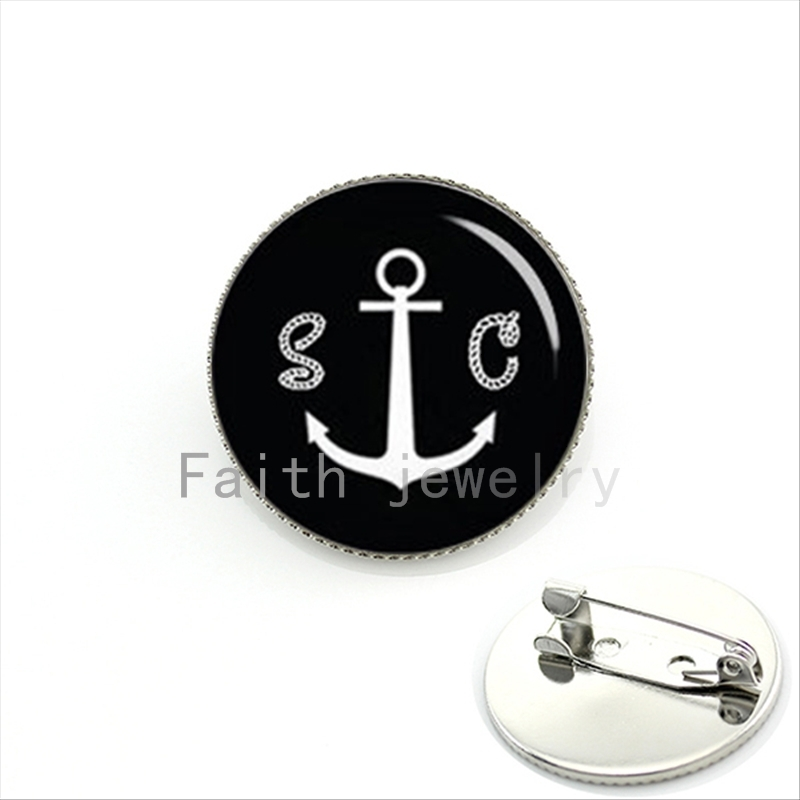 boat anchor brooch custom 2 letters initial or date pin men gifts silver
