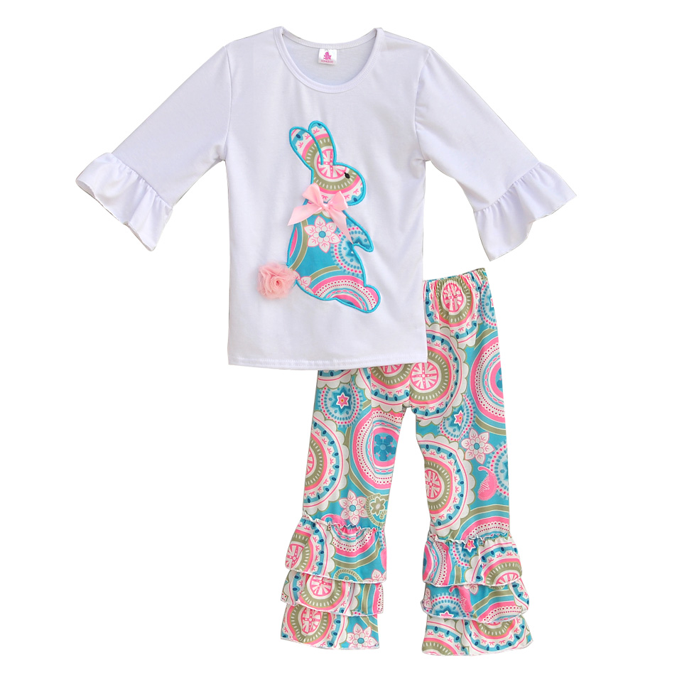 Easter Boutique Girls Embroidery Outfits Big Rabbit Top Floral Ruffle Pants Fashion 2 Pcs Children Cotton