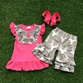 Girls Summer clothes baby girls boutique clothing hot pink reindeer clothes children summer clothing with matching hairbows