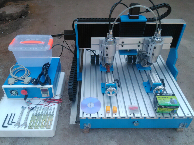 HOT! two spindles cnc router 6090 800W mini cnc cutting machine for hard metal aluminum woodworking hot top quality and agent wanted cnc router 6090 cnc cutting machines