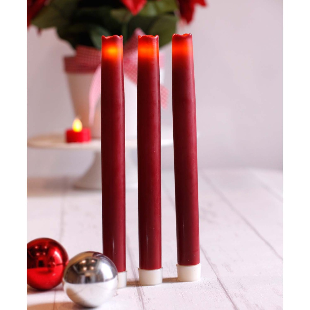 home impressions battery operated smooth flameless real wax led taper candle with six hour timer