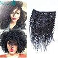 Mongol del pelo rizado rizado afroamericano Clip en extensiones de cabello humano 7 unids/set rizado rizado del pelo humano Clip en las extensiones