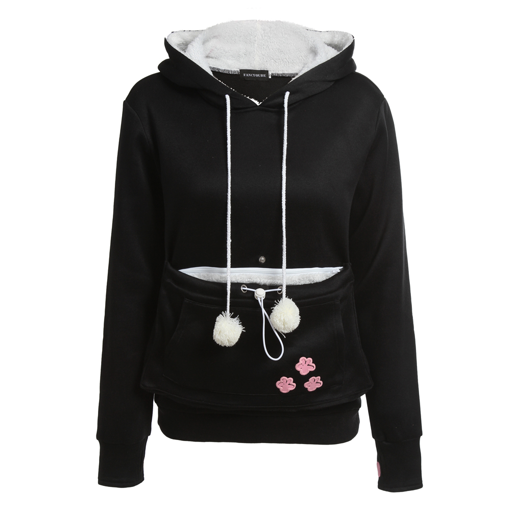 Cat Lovers Hoodies With Cuddle Pouch Dog Pet Hoodies For Casual Kangaroo Pullovers With Ears Sweatshirt XL