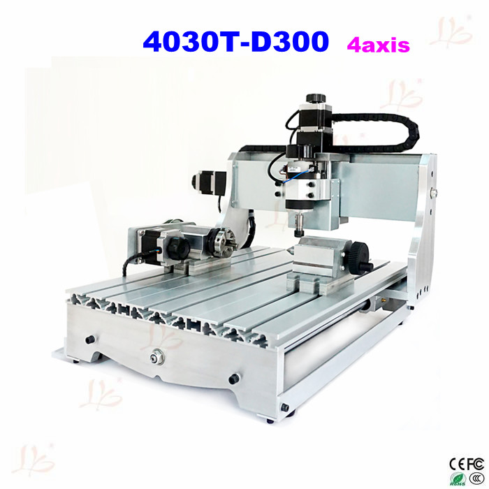 Russia no taxes 4axis  CNC 4030T-D300 300w spindle Router Engraver mini cnc Milling Machine cnc 5axis a aixs rotary axis t chuck type for cnc router cnc milling machine best quality