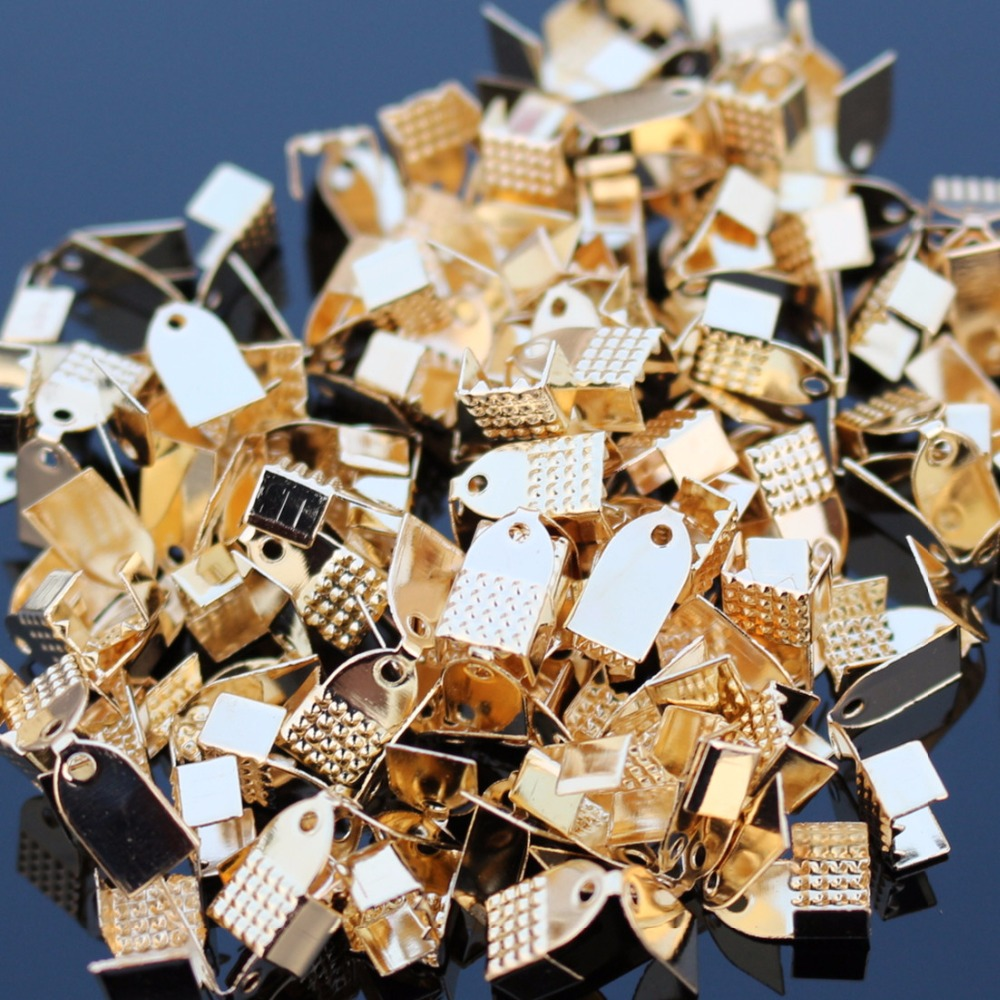 D008 100pcs/lot Connectors Jewelry Findings & Components Accessories Textured End Caps Crimp Beads Clasp Fit Jewellry Making