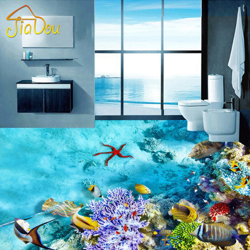 Customize Any Size Underwater World Coral Fish Living Room 3D Floor Mural PVC Self Adhesive