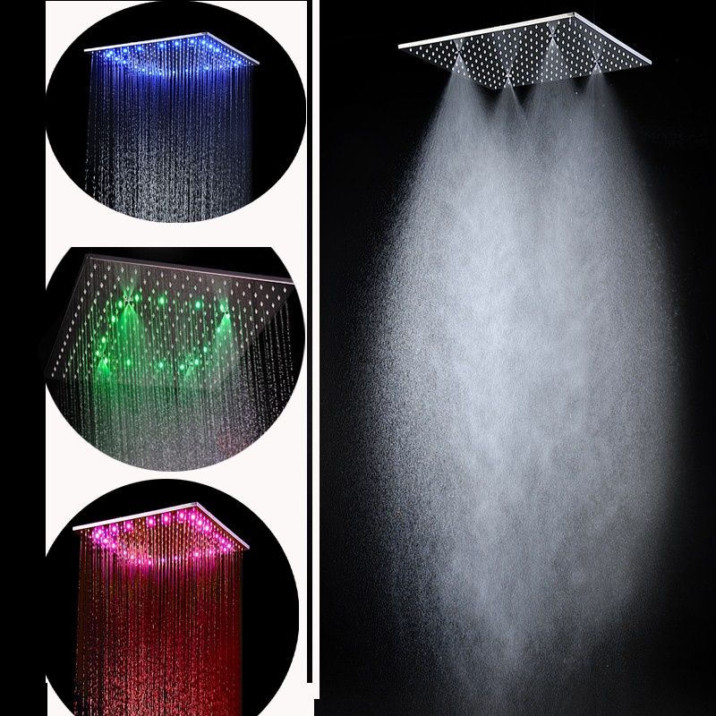 Easy Install 20 Inch Stainless Steel Bathroom Shower Square Rainfall Mist  Shower Head Led With Ceiling Arms In Shower Heads From Home Improvement On  ...