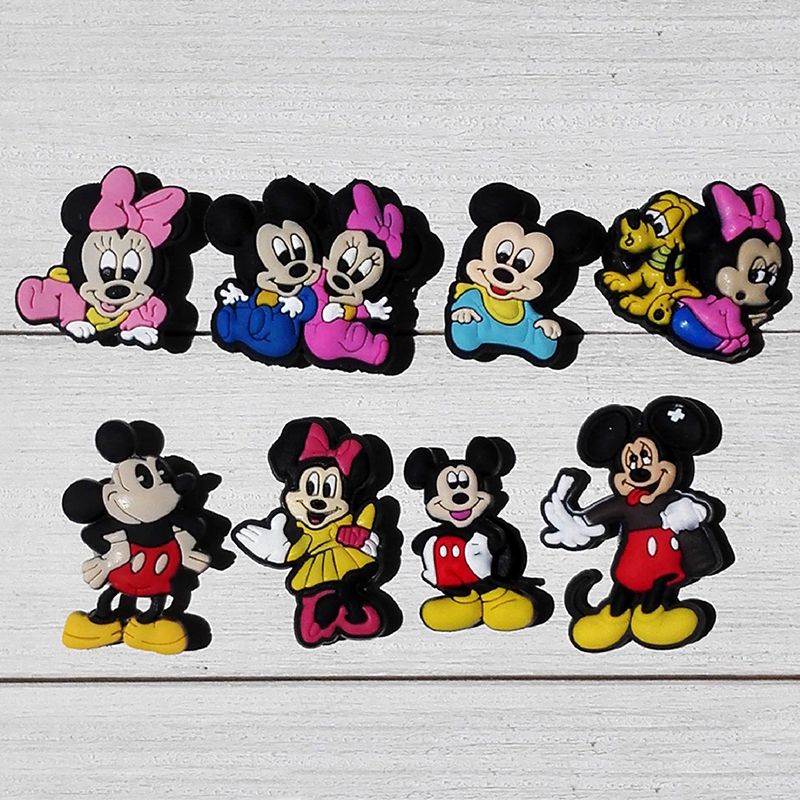 Free Shipping 8pcs Lot Mickey shoe decoration/shoe charms/shoe accessories for wristbands kids school gifts free shipping 8pcs lot mickey shoe decoration shoe charms shoe accessories for wristbands kids school gifts