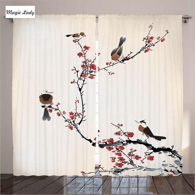 Rideaux Maison Oiseaux Cerisier Branches été Impression Orientale Salon Chambre  Rouge Beige Bl Rideaux Maison Oiseaux