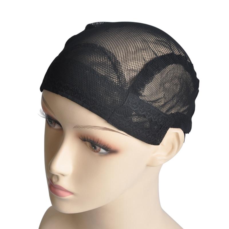 5 Pz/lotto Nylon Nero Parrucca Tappi Per Fare Tessitura Parrucche Con Fascia regolabile Per Una Vestibilità Perfetta Protezione della Parrucca Glueless dimensione Media