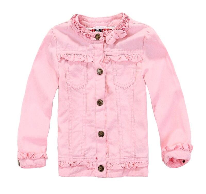 Children's girls Pink denim jacket Beautiful lace collar-in ...