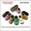 Mocassim de couro sapatos de bebê sola dura 3 tamanhos em estoque, Sola de borracha sapatos para crianças