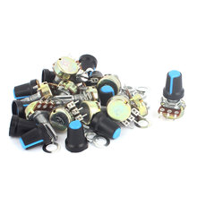 UXCELL Material 12Pcs B10k 10K Ohm 3 Terminal Single Linear Rotary Taper Potentiometer W Caps electronic | metal, | parts