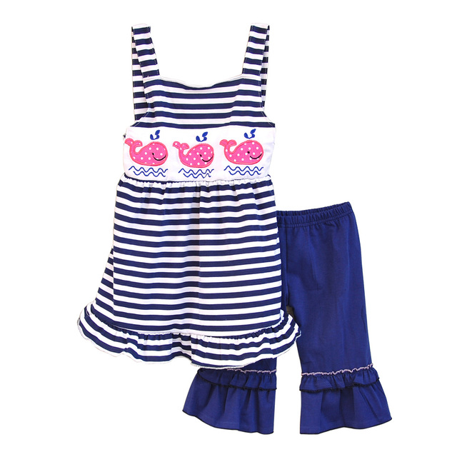 New Arrival Girls 2 Pcs Summer Clothing Cute Embroidery Shark Stripes Top Cotton Ruffle Pants Remake Children Outfits S055