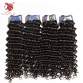 "4pcs/lot brazilian deep wave virgin hair extensions grade 6a natural black human hair weaves 12-30"" mix length DHL free shipping"