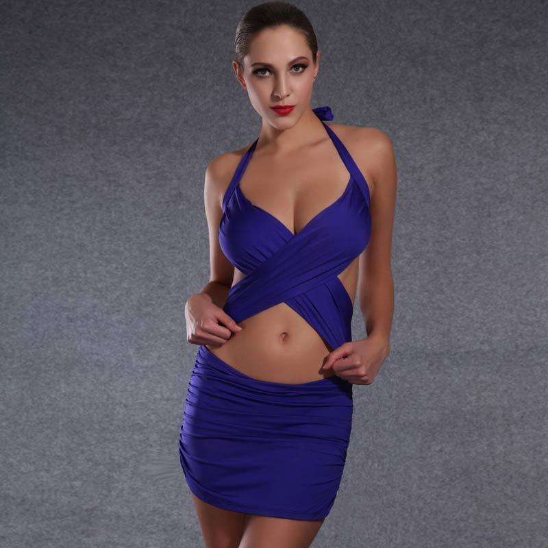 Newest Design Women Sexy Criss-Cross Halter Neck Cut Out Draped Bandage Mini Dress Swimwear Backless One-Piece Swimsuit LC442