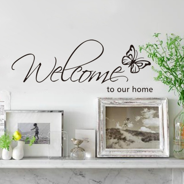 Welcome TO Our Home Monogram Wall Quote Decal Sticker Butterfly Wall Art  Mural Poster Home Decor