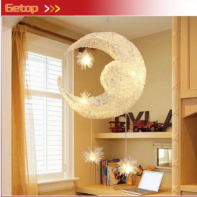 ZX New Creative Star Moon LED Chandelier Magic Lustre Light Fixture Bar Balcony Restaurant Children Room Lamp Free Shipping