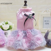 SYDZSW Designer Pet Costume Dog Wedding Dress Beautiful Rose Puppy Dog Tutu Dress Purple Gray Pink