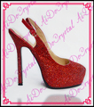 Aidocrystal slingback cristal vermelho sexy plataforma de salto alto sandálias das mulheres verão 2016 handmade rodada dedo do pé sapatas do estilete
