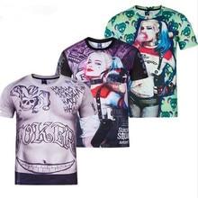 Suicide Squad 3D Print Cosplay Costume Harley Quinn Joker 3D Summer T-Shirt for Men and Women
