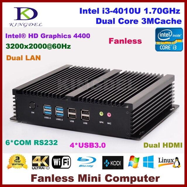 US $250 0 |Kingdel Industrial Mini PC with 6 COM 2 HDMI 2 Lan Black Color  Intel i3 4010u Processor,3D game support,Windows 10 NC310-in Mini PC from