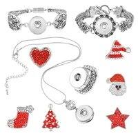 MJARTORIA 1Set Christmas Red Santa Sock Heart Snap Button Necklace Bracelets Ring Suit Rhinestone DIY Jewelry