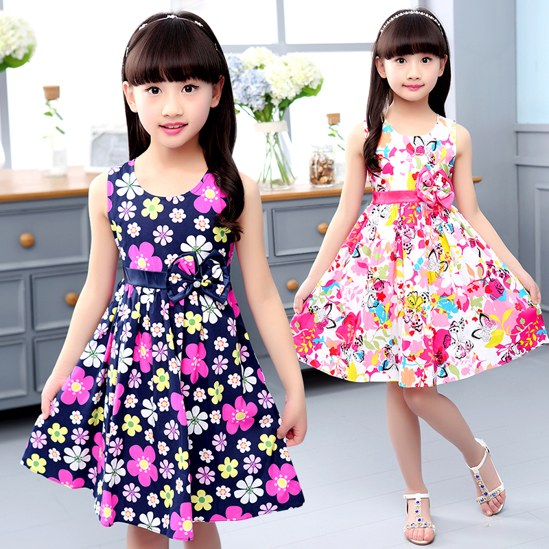 Summer Dresses For Girls A-Line Print Floral Girls Dresses O-Neck Bohemian Kids Clothes For Girls Fashion Baby Princess Dress random floral print v neck sleeveless irregular hem dresses