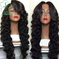Unprocessed Brazilian glueless full lace wig 100% human hair body wave lace front wigs with baby hair side bangs/middle part