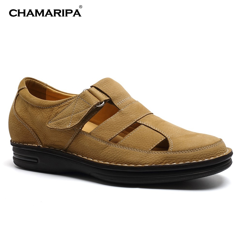 CHAMARIPA Increase Height 7cm/2.76 inch Fisherman Elevator Sandals Shoes Brown Men Sandals Height Increasing Shoes For Men  chamaripa increase height 7cm 2 76 inch taller elevator shoes black mens leather summer sandals height increasing shoes