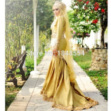 MZY711 New Golden Long Sleeve Lace Satin Wedding Dress Mermaid Middle East Arabic Muslim Hijab Dubai Bridal Gown