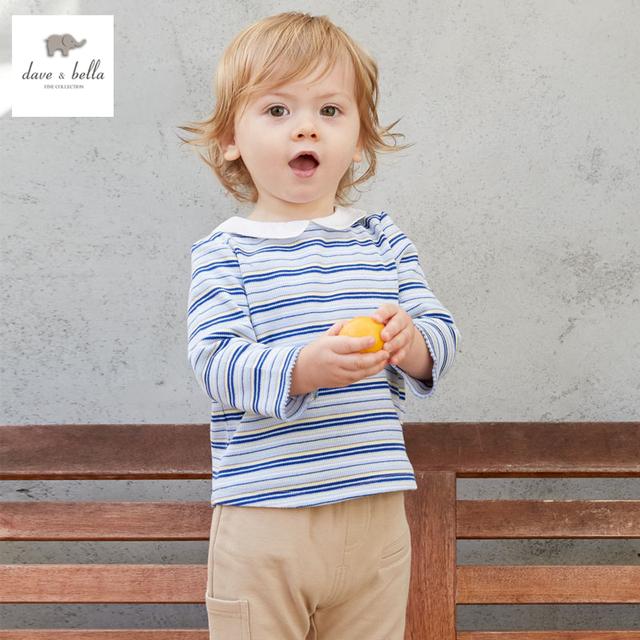 DB3274 dave bella primavera menino de algodão t-shirt infantil roupas toddle camiseta meninos meninos top peter pan colarinho da camisa t do bebê tee