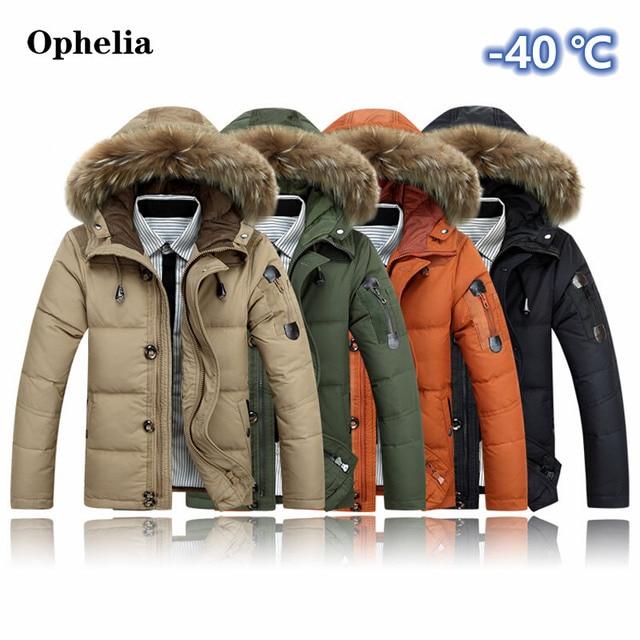 Defy холодно-40 градусов По Цельсию мужская пуховик С Капюшоном 90% утка Вниз Зимнее Пальто Плюс Размер Верхней Одежды Куртки Мужчины Зимнее Пальто