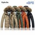 Desafiar a frio-40 graus Celsius Para Baixo dos homens casaco Com Capuz 90% Duck Down Inverno Sobretudo Plus Size Outwear Jaquetas Homens Casaco de Inverno