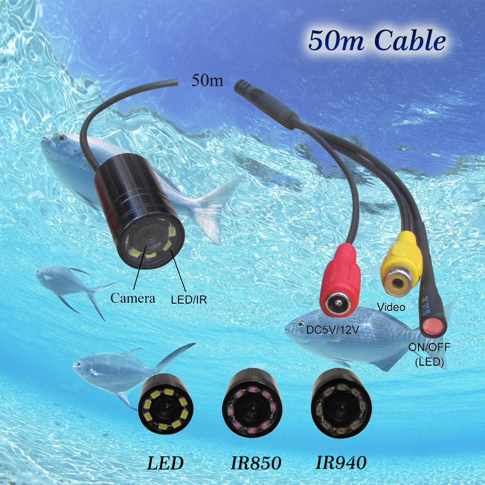 Free shipping 50m 4-24V 90 deg mini underwater fish finder waterproof video security camera with 8 LED/IR lamps все цены