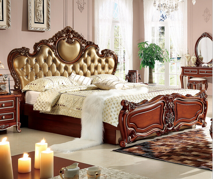 teak wood Classic bedroom furniture 0409 9818-in Beds from Furniture on  Aliexpress  Alibaba Group