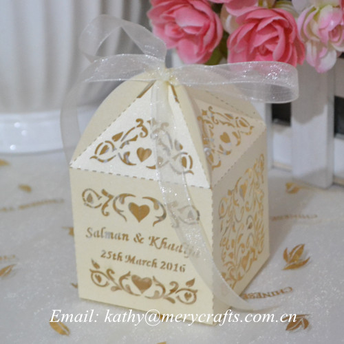 Laser Cut Wedding Favors Box Ivory Cake Bo Elegant Favor