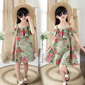 Girls Dresses Floral Print Dresses For Girls Summer Kids Clothes Off Shoulder Sundresses Cute Clothing For Children 4T-14Years