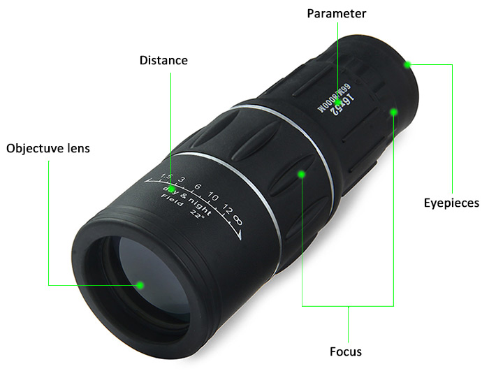 Outdoor 16x52 Hunting Optics Monocular Dual For Focus Zoom Optic Lens Day font b Night b