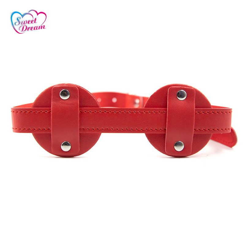 PU Leather Blindfold with Pin Buckle Glasses Shape Sex Eye Mask Adult Game Role Play Party Mask Sex Toys For Woman or Men DW-373