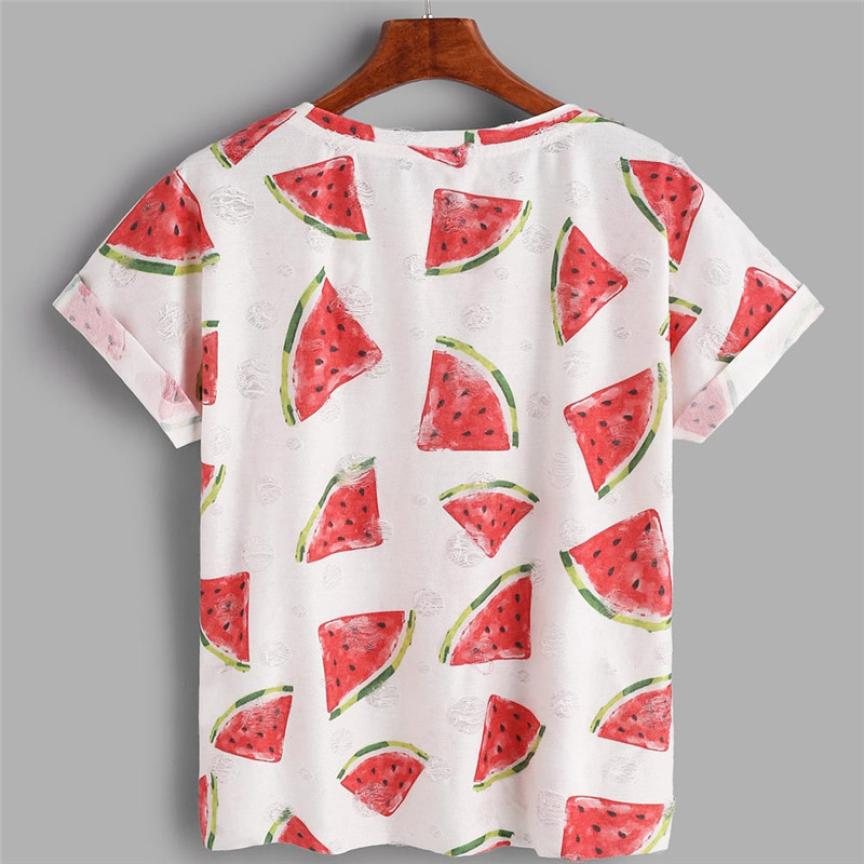 abd3f1a84 Feitong Watermelon Printed Holes T shirts for Women Spring Summer Short  Sleeve Cotton Tops Female Clothing Plus Size-in T-Shirts from Women's  Clothing ...