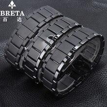 Hommes de quartz montre 22mm24mm bracelet noir bracelet en céramique pour Arma AR1451 | AR1452 montre étanche bracelet Butterflybuckle ceinture