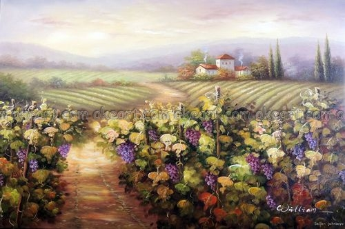 100 Hand Painted Italian Landscape Umbria Tuscany Vineyard Grape