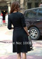 1010 платье новое поступление корейский vneck молока шелковые платья женщин