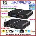 Безвентиляторный настольных пк Core i7 4500U / 4560u, 4 * USB 3.0, Lan, Двойной микро-hdmi, 3D игры поддержка, Windows 10