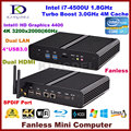 Fanless PC desktop Core i7 4500U / 4560u, 4 * USB 3.0, Dupla lan, Dupla hdmi, Suporte a jogos 3d, Windows 10