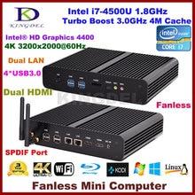 Без вентилятора Настольный ПК core i7 4500U/4560U, 4 * USB 3.0, Dual LAN, двойной hdmi, 3D поддержка игры, Windows 10